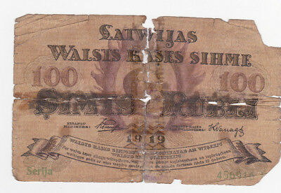 100 Rubli Poor Banknote From Latvia 1919!pick-7!very Rare