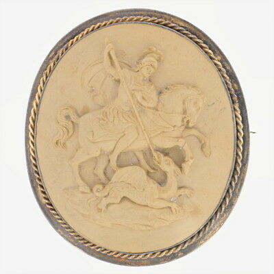 Victorian Carved Lava Cameo Brooch - 15k Gold Antique St. George & the Dragon