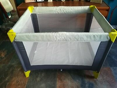 Cuggl Baby Travel Cot Bed Play Pen Compact Portable Grey & Carry Bag