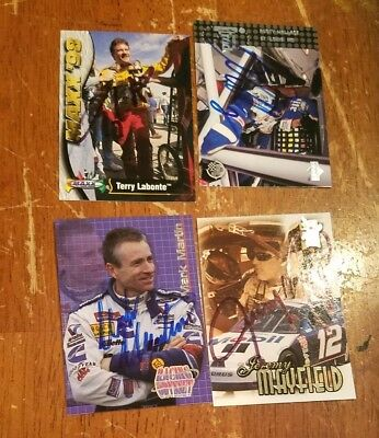 Lot of 4 Autographed NASCAR Trading Cards
