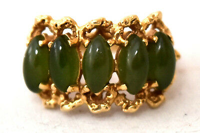 Vintage Chinese 14K Solid Gold and Natural Spinach Jade Ring Size 6