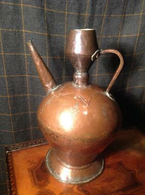 Antique 19thC. Persian Copper Large Zagros Shiraz Wine Jug Hand Decorated Chic