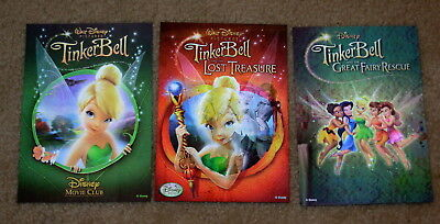 Disney Movie Club 3D Lenticular Cards Lot TinkerBell Trilogy I II III 1 2 3 RARE