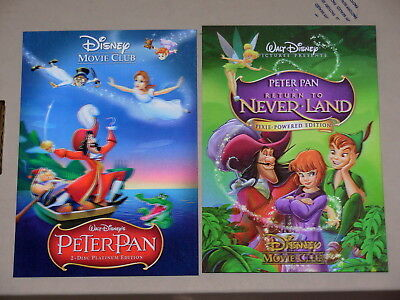 Disney Movie Club 3D Lenticular Cards Lot Peter Pan 1 & 2 Return to Neverland