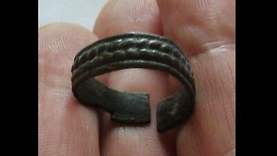 Ancient Viking Decorated Old Bronze Ring  VERY RARE
