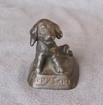Advertising Cast Iron Paperweight Little Dog Wahnetah Mocador Puppy Skin