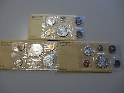 Silver 1966 1967 1968 Republic Of Panama Proof Set Balboa