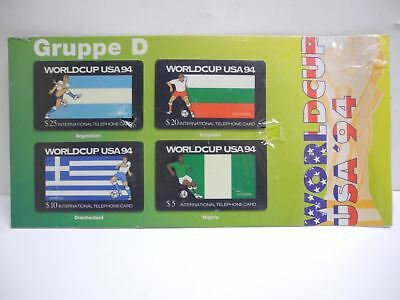 Set of 4 Original 1994 WorldCup USA '94 Telephone Phone Cards Sealed on Card