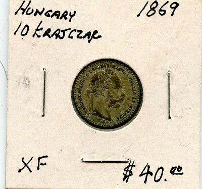 1869 Xf Hungary 10 Krajczar Silver Coin  From Estate!!!! .starts @ 2.99