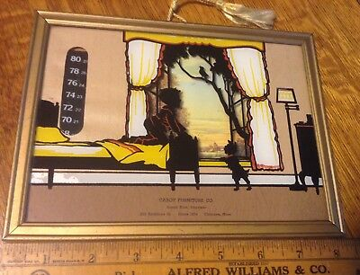 Reverse Paint Adv. 3D Print Thermometer Cabot Furniture Chicopee MA 1950 Dog