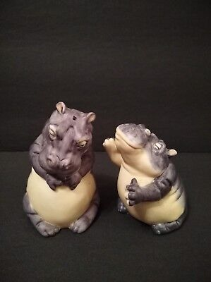 Franklin Mint Vintage Noah's Ark Two By Two Hippo Salt And Pepper Shaker.