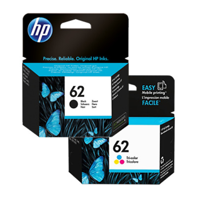 HP #62 Genuine Black & Color Ink Cartridges Combo New Sealed Retail Box