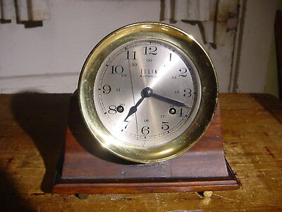 Vintage Elgin 4 Jewel 8 Day Ships Bell Clock With Desk Holder Working Well