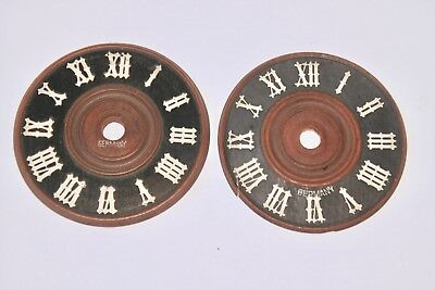 Lot of 2 Vintage Germany Wooden Cuckoo Clock dial face parts Restore as is 3 1/8