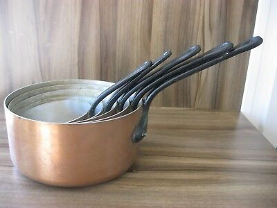 Vintage Set of 5 Copper Pans with Cast Iron Handles Made in France