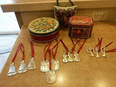 Longaberger Sounds of the Season Set of 12 Pewter Ornaments and tins