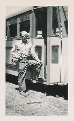 1944 WWII Sailor's Maui Hawaii Photo armed sailor at Mail & Liberty Bus