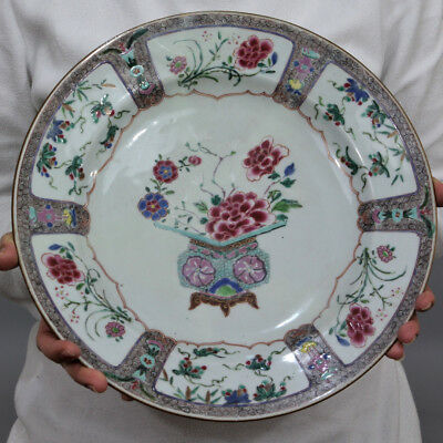 A Large 18Th Century Chinese Qianlong Period Famille Rose Plate Charger Dish
