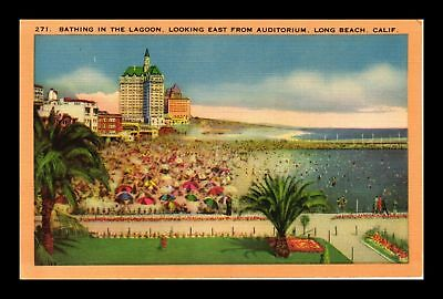 Dr Jim Stamps Us Lagoon Bathing From Auditorium Long Beach California Postcard