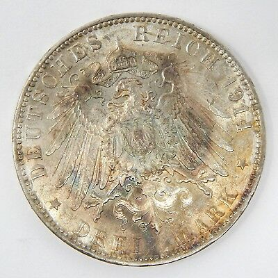 1914 Germany Hamburg 3 Mark Silver Uncirculated A6715