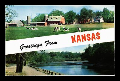 Dr Jim Stamps Us Greetings From Kansas Two Views Chrome Postcard