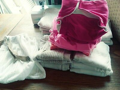 Cloth Diapers Set of 7 cloth diaper covers and 14 prefold style cloth inserts