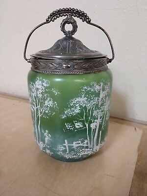 Antique Victorian Mary Gregory Green Glass Biscuit Jar with Lid & Handle
