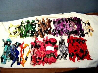 BIG LOT of 145+ VINTAGE PERI-LUSTER COTTON FLOSS SKEINS  EMBROIDERY ASST.COLORS