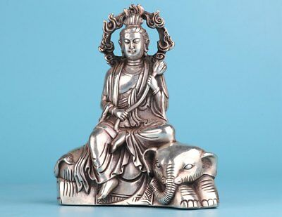 Rare Handmade Copper Silver-Plated Guanyin Elephant Cultivation Statue Buddhist