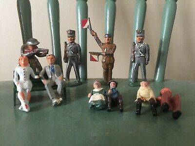 "Lot of 11 Antique Cast Iron Toy Figures ""AS IS"" Soldiers, people, bench"