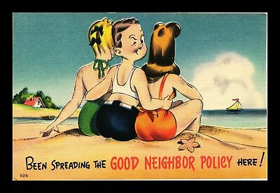 Dr Jim Stamps Us Comic Beach Good Neighbor Policy Linen Topical Postcard