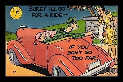 Dr Jim Stamps Us Comic Sure Ill Go For A Ride Topical Linen Postcard