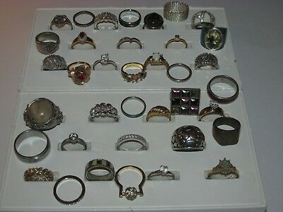 Lot Of 37 Vintage Costume Rings, All Different Sizes, Good Condition, Pre Owned,