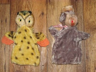 Lot Of 2 Vintage Hand Puppets, An Owl & A Poodle Dog, Made In Japan, Neat!