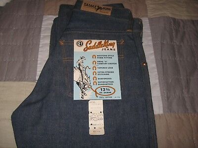 Vintage 60's Sanforized Saddle King Youth Jeans Deadstock w Flashers 26 x 26.6