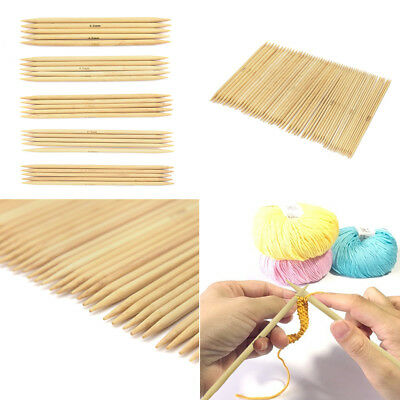 55Pcs Double Pointed Bamboo Knitting Needles DIY Sweater Glove Knit Tool Set