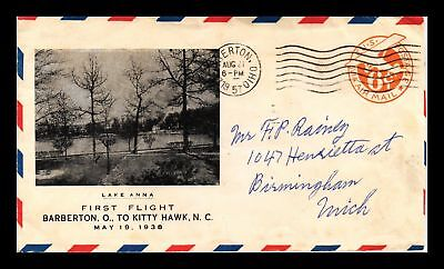 Dr Jim Stamps Us Barbertom Ohio First Flight Air Mail Cover Lake Anna 1957