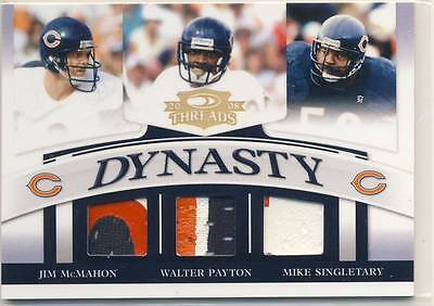 2008 Donruss Threads WALTER PAYTON MIKE SINGLETARY JIM MCMAHON PATCH /50 BEARS