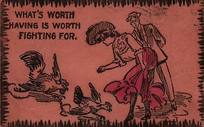 What's Worth Having is Worth Fighting For Vintage LEATHER Postcard