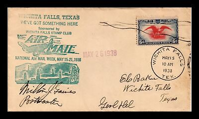 Dr Jim Stamps Us Wichita Falls Texas National Air Mail Week Cover 1938