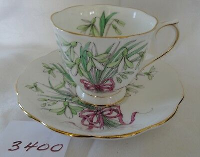 ROYAL ALBERT No 1 of 12 SNOW DROP Cup & Saucer Flower of the Month HP