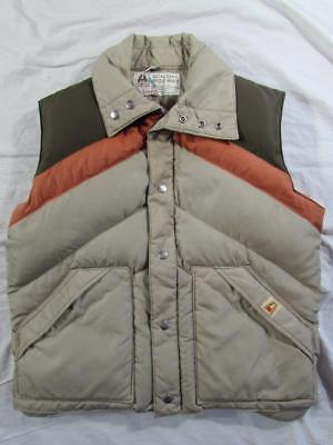 Vtg 70s 80s Multi Color Academy Broadway Goose Down Vest L Puffer Puffy Chevron
