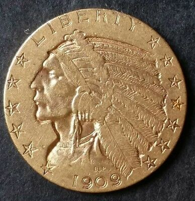1909-S $5 - Gold - Indian Head. *No Reserve*