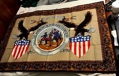 "vintage 1976 AMERICAN BICENTENNIAL TAPESTRY (60X39"") wall hanging AMERICA USA US"