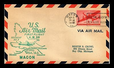 Dr Jim Stamps Us Macon Georgia Am 98 First Flight Air Mail Cover Charlestown