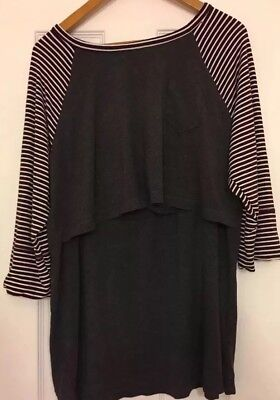 Latched Mama Women's 3/4 Sleeve  Shirt Striped  Size XL