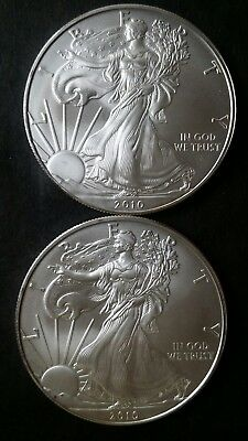 Lot of 2 2010 $1 American Silver Eagle Dollars .999 Fine Silver *Free Shipping*