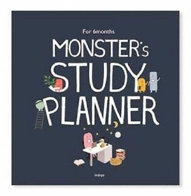 6 Months Monster Study Planner Organizer Navy Time Table Bucket List Memo_mg