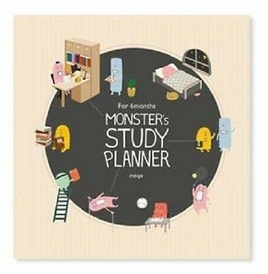 6 Month Monster Study Planner Organizer Beige Time Table Bucket List Memo_mg