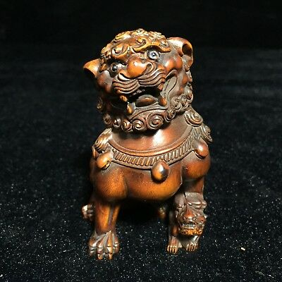 Rare Boxwood Handwork Lion Town House Collectible Japanese Netsuke Statue